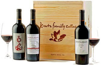 Krutz Family Cellars wines and branded wood collector's case
